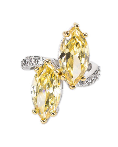 Canary Yellow Double Marquise Ring
