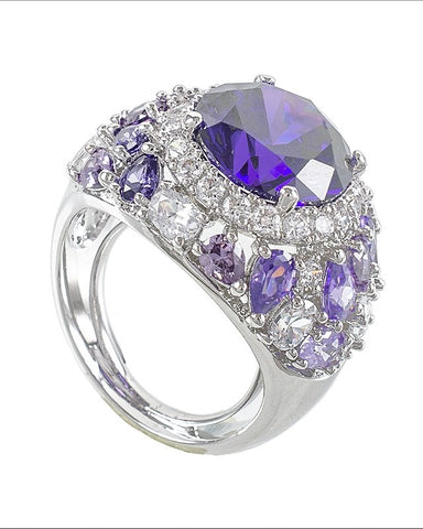 Amethyst Radiant Round CZ with Multi Stone Wide Band with Pave Halo