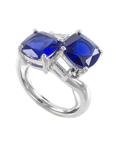 Double Blue Sapphire Cushion Ring