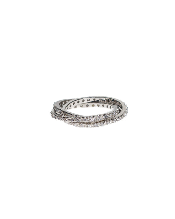 Pave Interlocking Rings