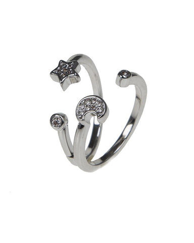 Star and Moon Double Ring