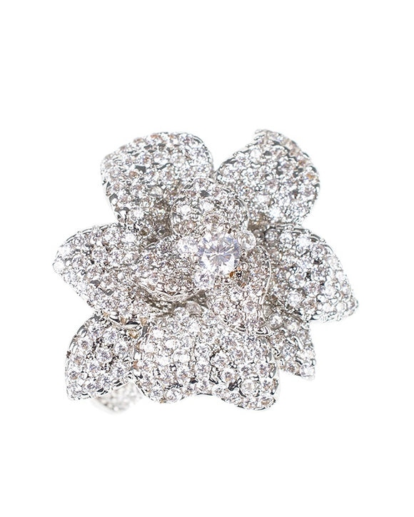 CZ Pave Flower ring