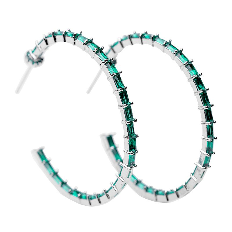 Emerald Baguette Inside Out Hoop Earrings