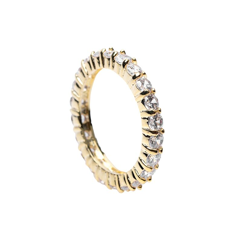Round CZ Gold Eternity Band