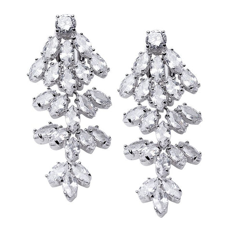CZ Cluster and Pearl Clip Earrings