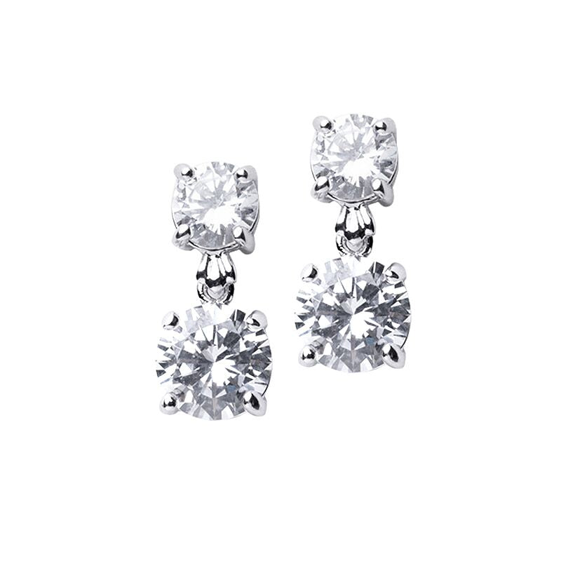 Double Round Pierced Drop Earring