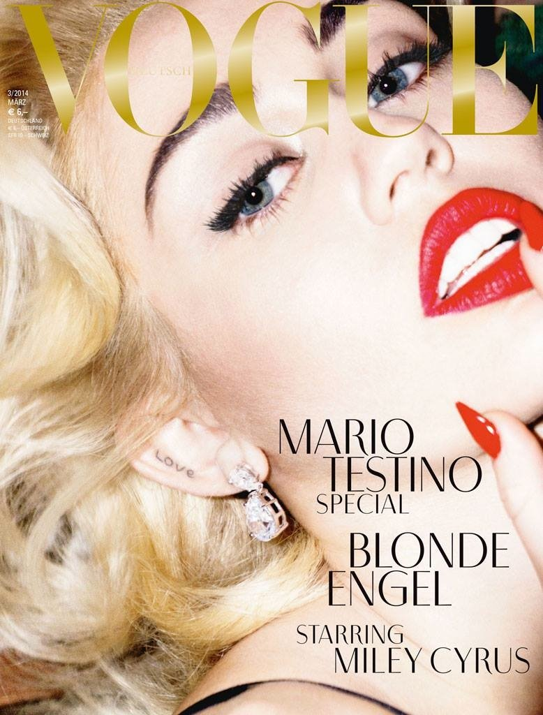 Miley Cyrus in Vogue Germany - Double Pear Drop Earrings