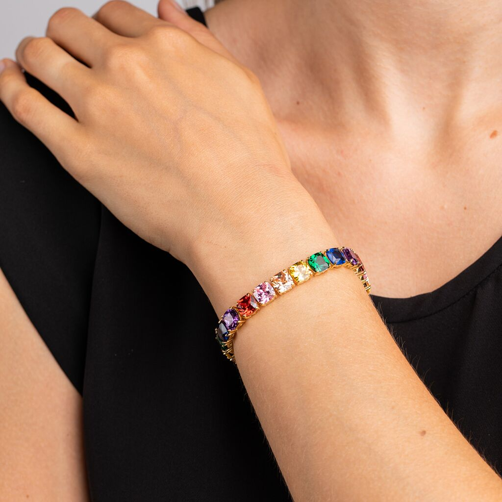 Multi Colored Cushion Cut Tennis Bracelet