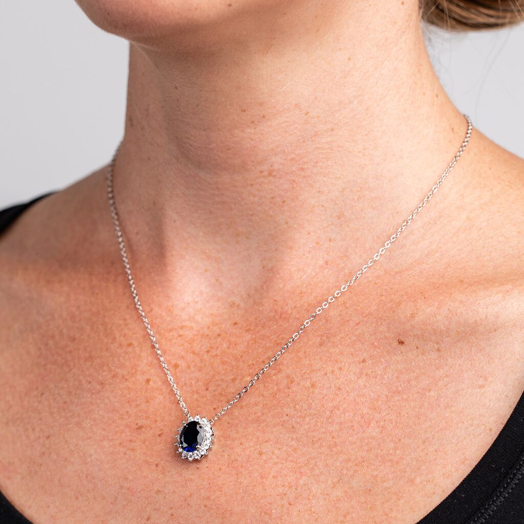 Oval Sapphire Pendant Necklace