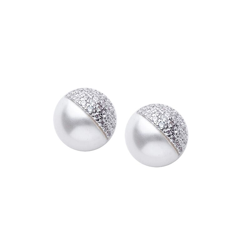 CZ and Pearl Split Stud
