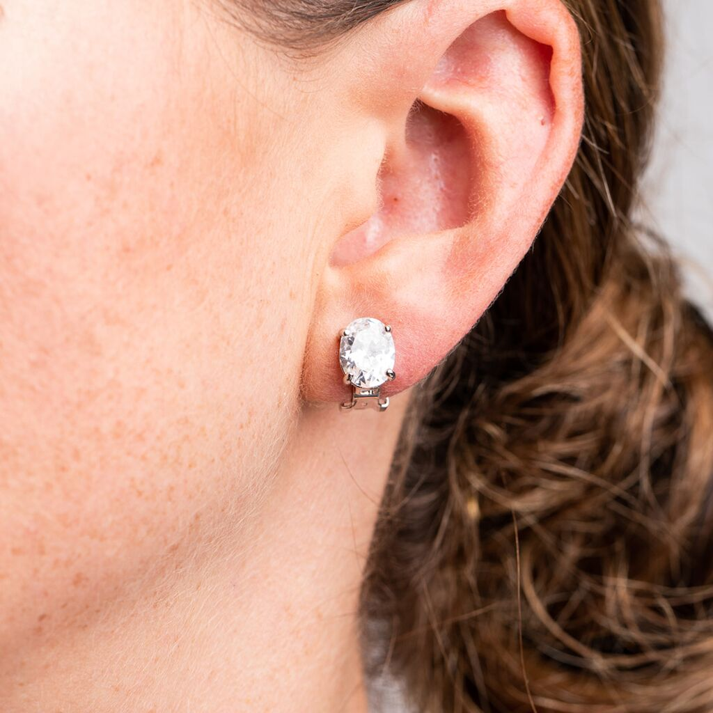 Oval Stud Clip Earrings