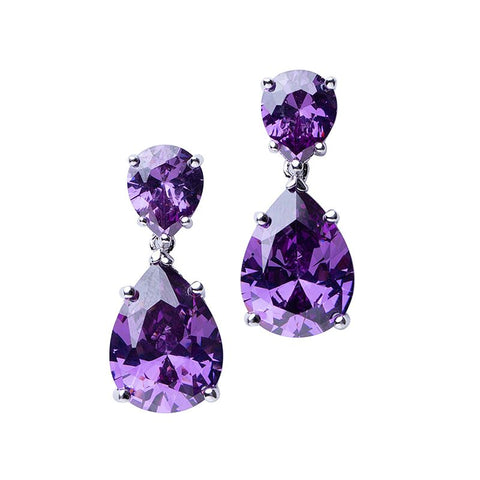 Double Ruby Cushion Drop Earrings