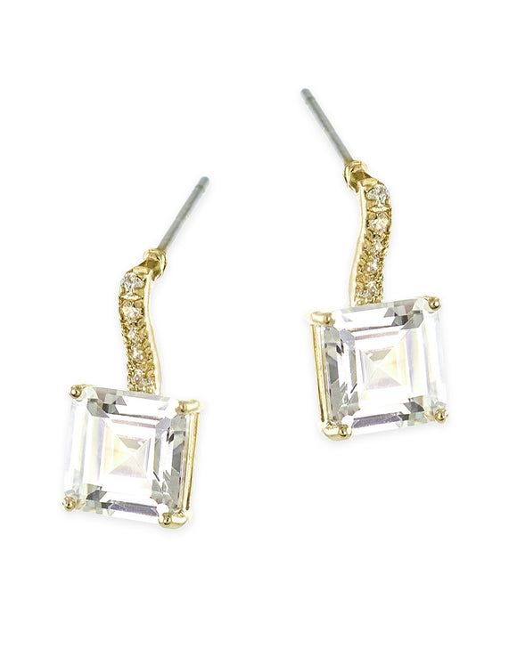 Gold Plated Princess Cut Drop Pireced Earring