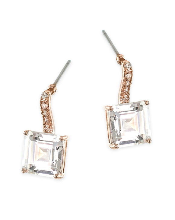 Rose Gold Plated Princess Cut Drop Pierced Earring