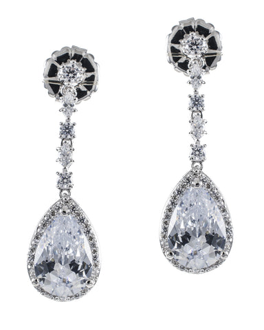 Elegant Pear Drop Multi Strand Pierced Earrings