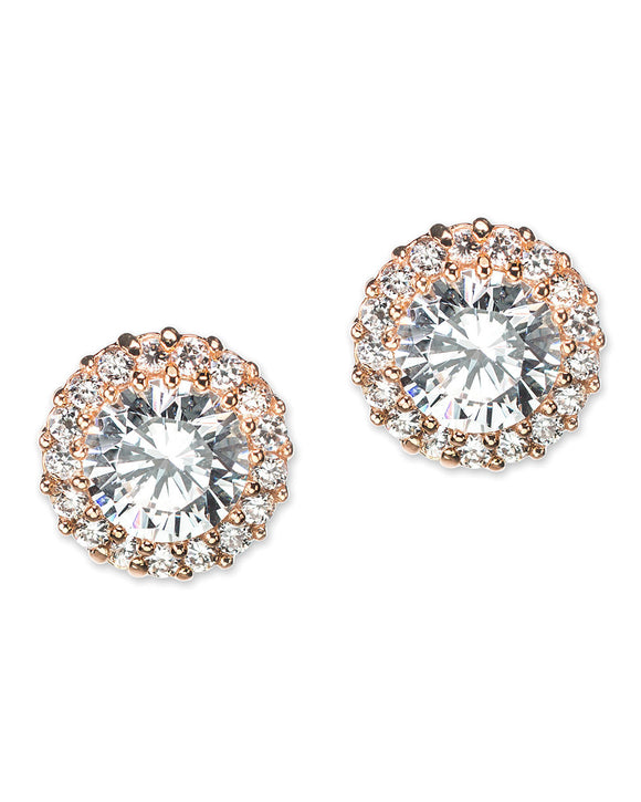 Classic Pavé Round Pierced Rose Gold Plated Stud Earring