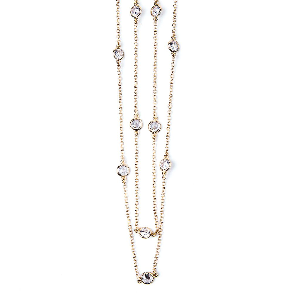 "58"" Yellow Gold Station Necklace"