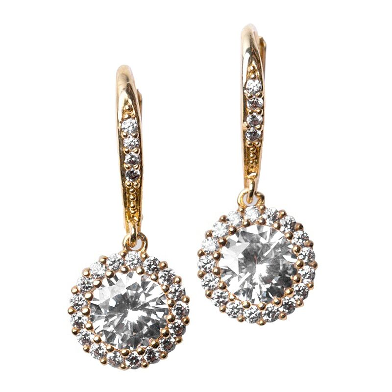 Classic Gold Plated Pavé Round Drop Pierced Earrings