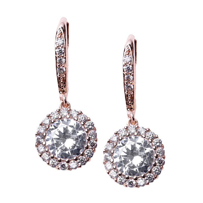 Classic Rose Gold Plated Round Drop Pierced Earring