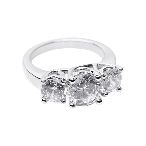 Floating CZ Double Finger Ring