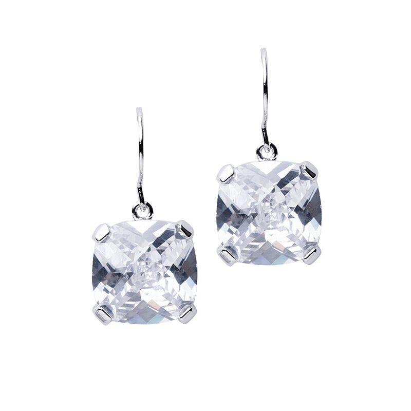 Cross Cut Cushion Drop Earrings