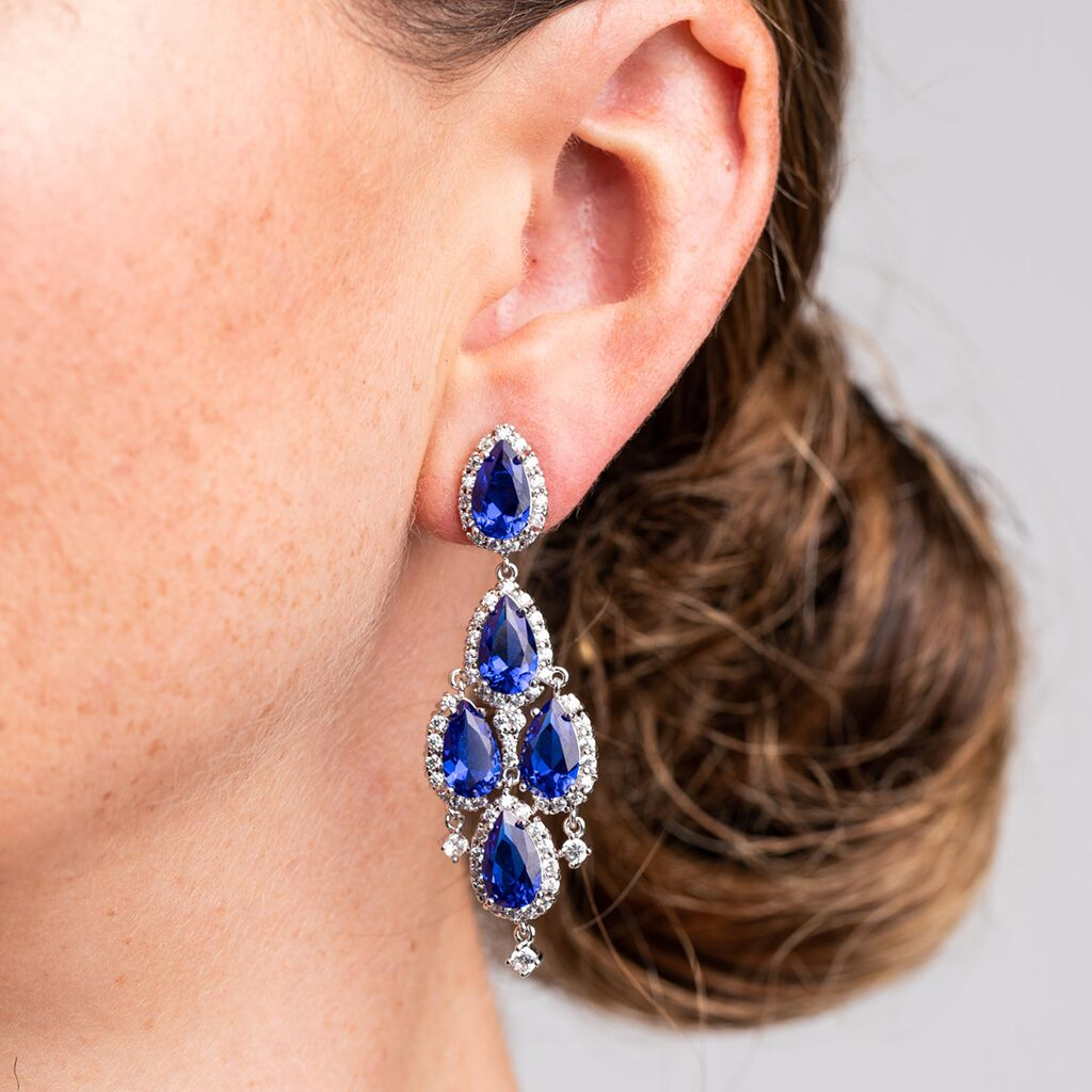 Vivid Sapphire 5 Pear Chandelier Earrings