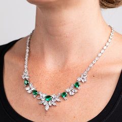 Emerald Multi Shaped Spiked Bib Necklace