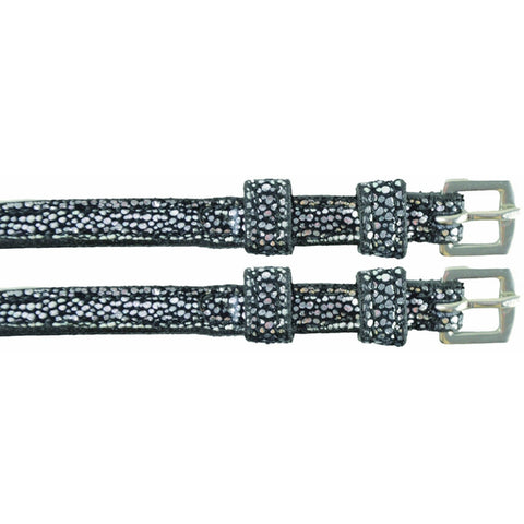 The HyCLASS Silver Sparkle Spur Straps from HyCLASS, available at 4Equine.com
