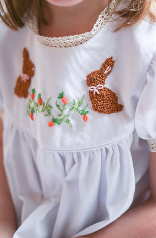 Hand Embroidered French Knot Beige Bunny Dress/Bubble and Boys Bubble