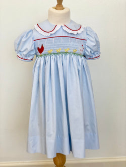 """Ruby Rooster"" Hand Smocked Dress"