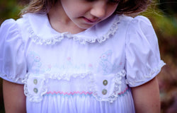 Hand Smocked and Embroidered Pink and Blue Bunny Dress