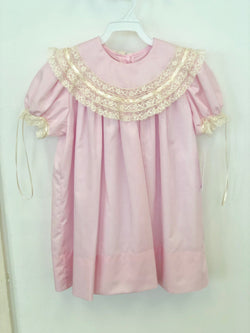Sale!  Pink and Ecru Mabel Heirloom Dress