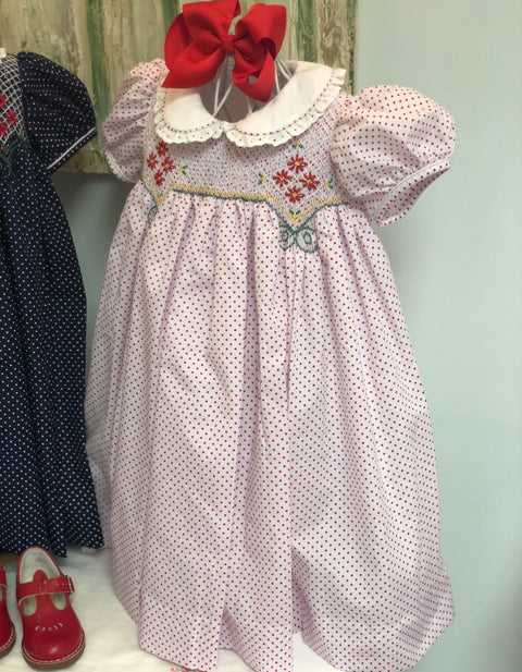 "Hand Smocked Red Dot ""Noel"" Dress"