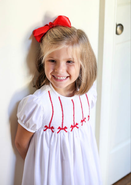 Hand Smocked Red Bow Dress