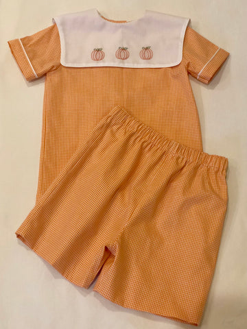 🎃 Boys Shadow Embroidered Pumpkin Bloomer/Shorts Set 🎃