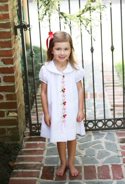 Hand Embroidered Holly Dress (White Stripe Batiste)