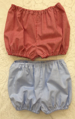 Red or Blue Gingham Boys Bloomers/Shorts Only