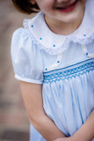 """Cecelia"" Vintage Blue Smocked Dress with Yellow and Blue Embroidery"