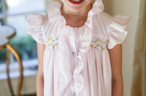 Pale Pink Flutter Sleeve Hand Smocked/Embroidered Loungewear