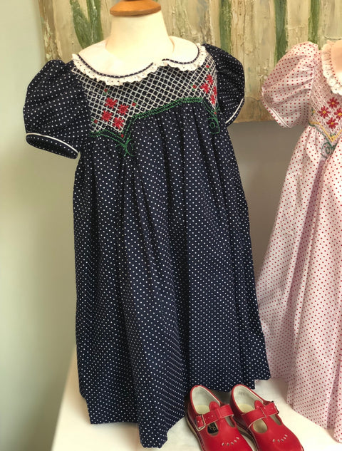"Hand Smocked Navy Dot ""Noel"" Dress"