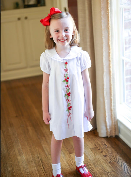 Hand Embroidered Holly Dress (Solid white Batiste)