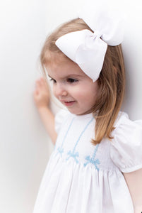 Hand Smocked Blue Bow Dress and Bubble