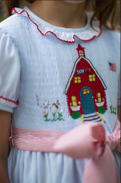 Hand Smocked Little Red Schoolhouse Dress