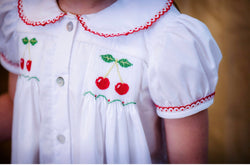 Hand Smocked Red Cherry Dress