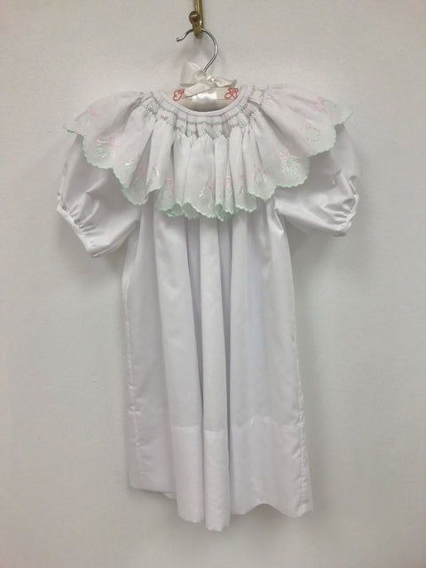 Hand Smocked Bishop with Wreath Collar Overlay