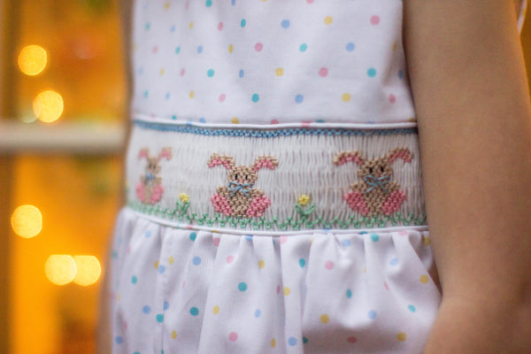 Hand Smocked Bunny Romper