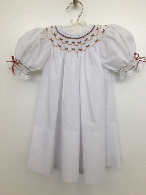 White Hand Smocked Christmas Bishop
