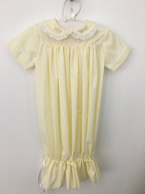 Yellow Daygown with Hand Embroidered Flowers