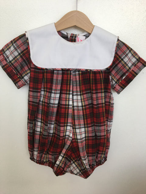 Boys Plaid Bubble with Square Collar