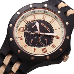 Bewell Luxury Wooden Chronograph Wristwatch